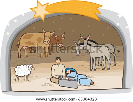 Birth of Messiah in a stable. A vector illustration. - stock vector