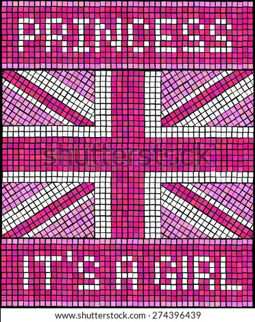 Birth of the Royal Baby Girl concept. A Union Jack flag made from mosaic tiles, in shades of pink for a new baby Princess. EPS10 vector format. - stock vector