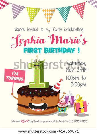 Birthday Anniversary Numbers Candle with Funny Character & Birthday Party Invitation Card Template - stock vector