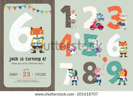 Birthday anniversary numbers cute animals birthday stock vector birthday anniversary numbers with cute animals birthday party invitation card template stopboris Image collections