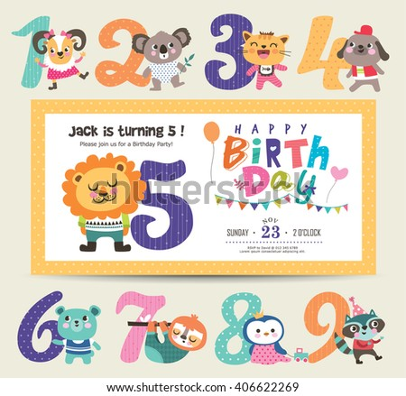 Birthday Anniversary Numbers Cute Animals Birthday Stock Vector