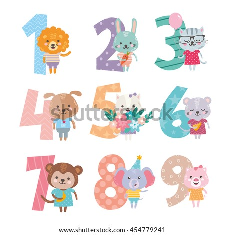 Birthday anniversary numbers with cute animals character. Funny lion, rabbit, cat, dog, mouse, monkey, elephant and pig. For baby birthday, party, invitation.  - stock vector