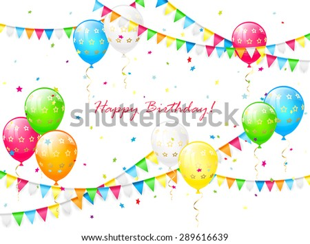 Birthday background with balloons, streamers, colorful confetti and pennants, illustration. - stock vector