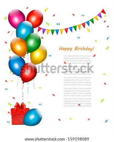 Birthday background with balloons. Vector. - stock vector