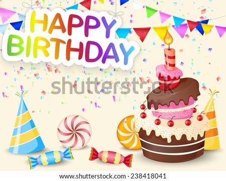 Birthday background with birthday cake - stock vector