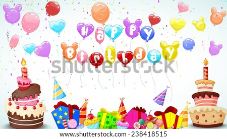 Birthday background with colorful balloon and birthday cake - stock vector