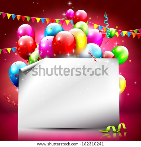 Birthday background with colorful balloons and empty paper  - stock vector