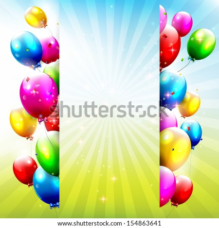 Birthday background with colorful balloons and place for text - stock vector
