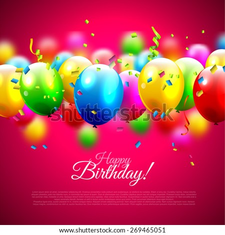 Birthday background with colorful balloons and place for your text - stock vector