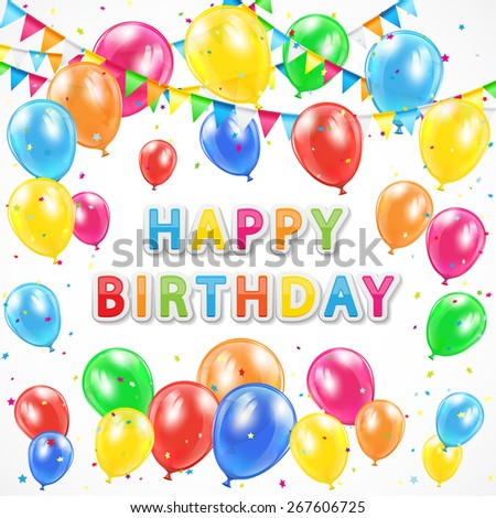 Birthday background with colorful balloons, pennants and confetti, illustration. - stock vector