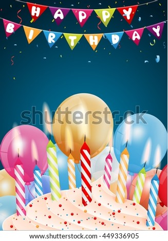 Birthday background with colorful candle and light - stock vector