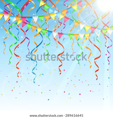 Birthday background with colorful  streamers, confetti and pennants, illustration. - stock vector