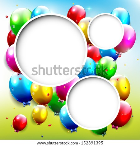 Birthday background with flying balloons and copyspace  - stock vector