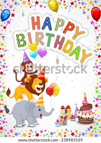 Birthday background with happy animals - stock vector