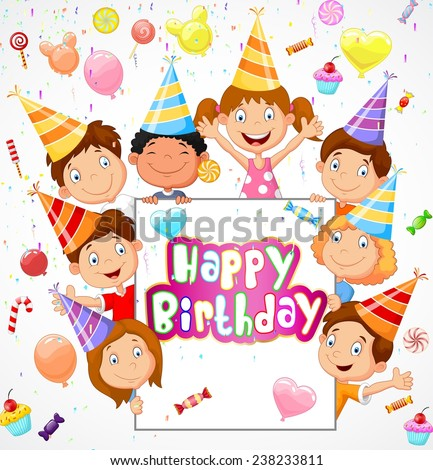 Birthday background with happy children - stock vector