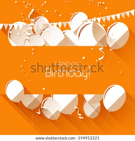 birthday background with paper balloons on orange background and with place for text  - stock vector