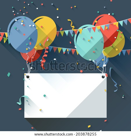 Birthday background with place for text - flat design style  - stock vector