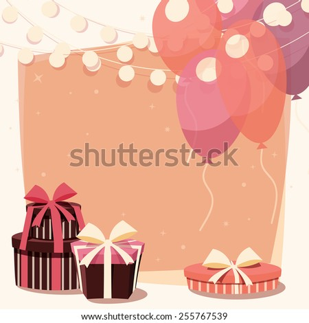 Birthday background with presents and balloons, vector illustration - stock vector