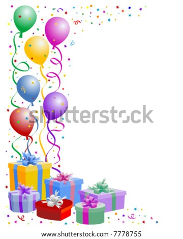 Birthday balloons with gifts boxes - vector - stock vector