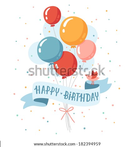 Birthday balloons with happy birthday greeting and a little bird - stock vector
