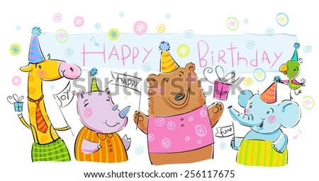 Birthday banner with animals. - stock vector