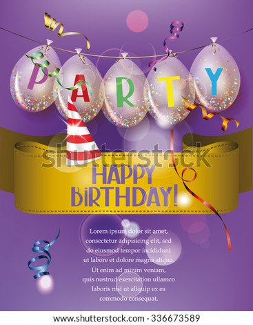 Birthday banner with transparent air balloons,ribbon and ticker tapes - stock vector