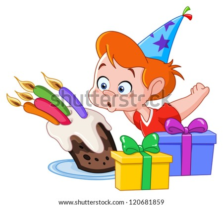 Birthday boy blowing candles - stock vector