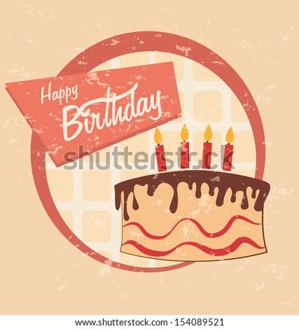 birthday cake design over pink background vector illustration - stock vector