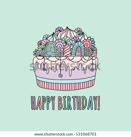 Happy Birthday Border Hand Drawn Vector Stock Vector - Words on cake for birthday