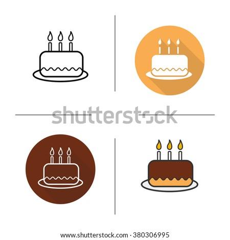 Birthday Cake Icon Cake Icon Dessert Stock Vector 326382551