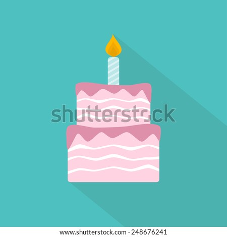 Birthday cake flat icon. Vector illustration - stock vector
