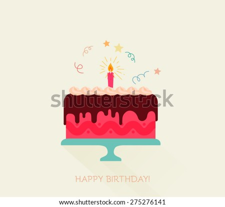 Birthday cake flat icon with long shadow - Happy Birthday  - stock vector