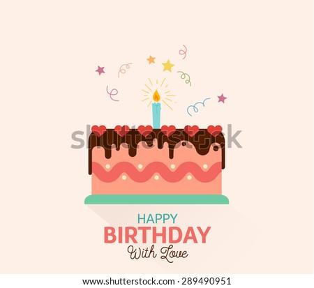 Birthday Cake Flat Icon Long Shadow Stock Vector 275276141