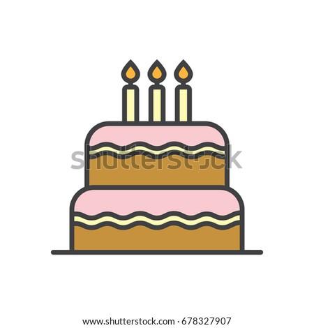 Birthday Cake Flat Line Icon Stock Vector 678327907 Shutterstock