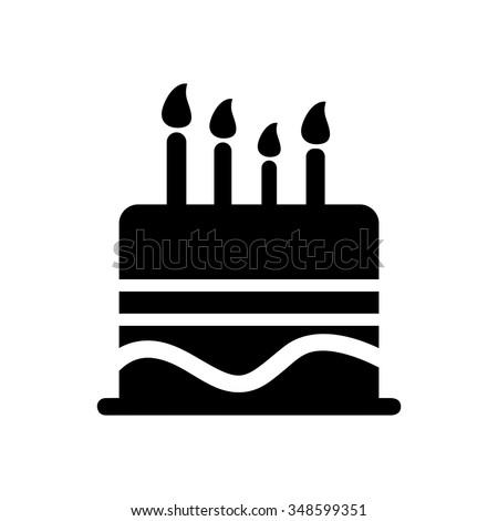 Birthday Cake Icon Stock Vector 348599351 Shutterstock