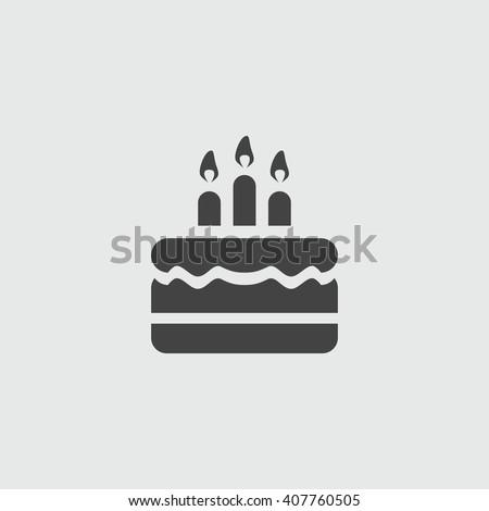 Birthday cake icon.  - stock vector
