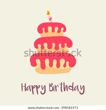 Birthday Cake Icon. Birthday Card Template. Cartoon Flat Design. Cute Cake.  Isolated