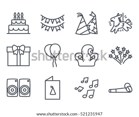 Birthday Cake Icon Outlined Line Vector Stock Vector 521231947