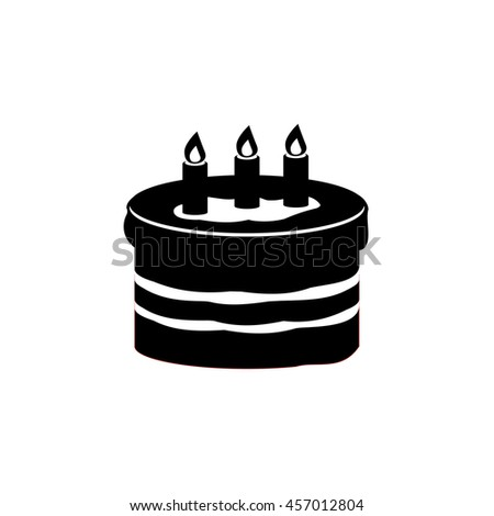 Birthday Cake Icon Three Candles Happy Stock Vector HD Royalty Free