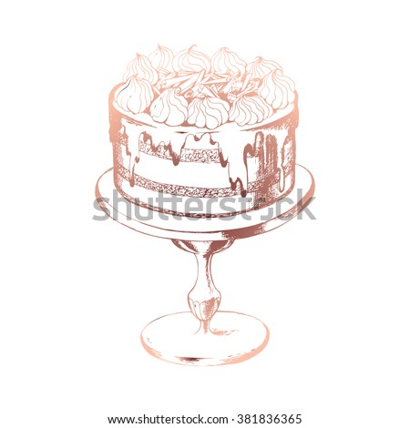 Birthday cake. Ink drawn vector illustration in vintage style. - stock vector