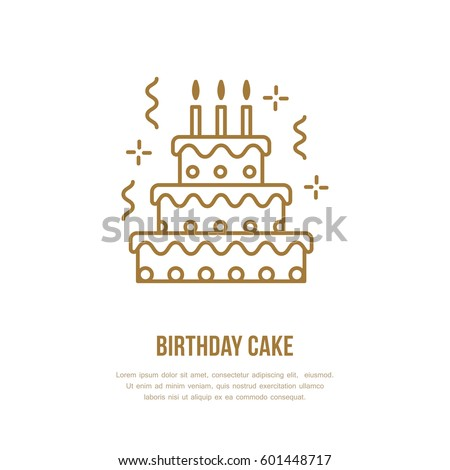 Birthday Cake Line Icon Vector Logo Stock Vector Hd Royalty Free