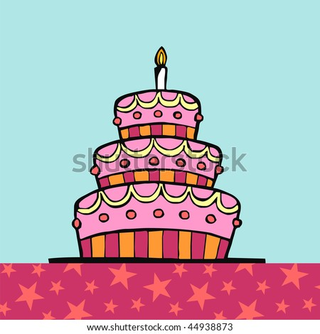 Birthday cake on table with pink tablecloth with stars on light blue background