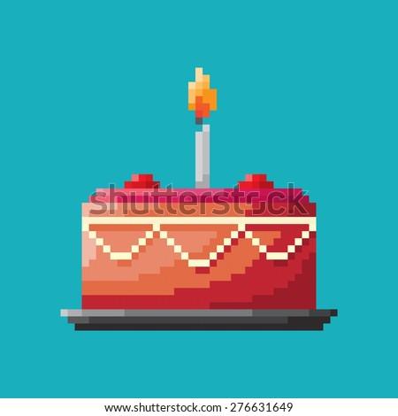 Birthday cake, Pixel concept icon - stock vector