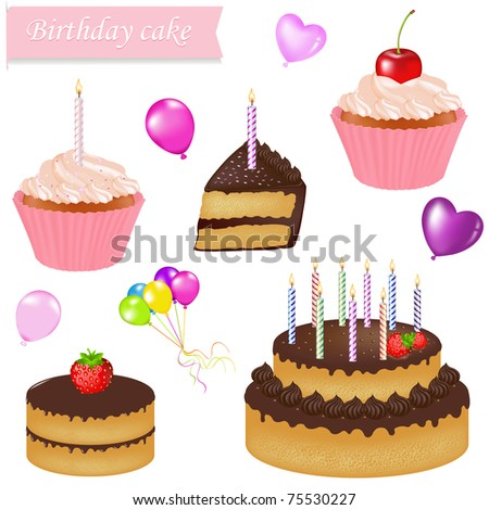 Birthday Cake Set, Isolated On White Background, Vector Illustration - stock vector