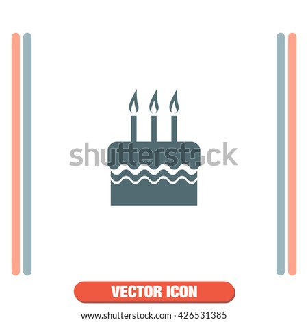 Birthday cake vector icon. Celebration sign. Party food symbol.