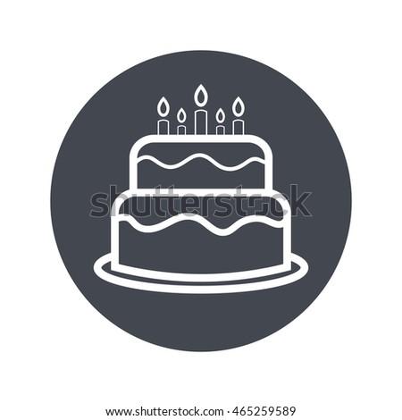 Vector Illustration Cute Cartoon Birthday Cake Stock Vector