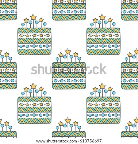 Birthday Cake Vector Seamless Pattern Hand Stock Vector 613756697