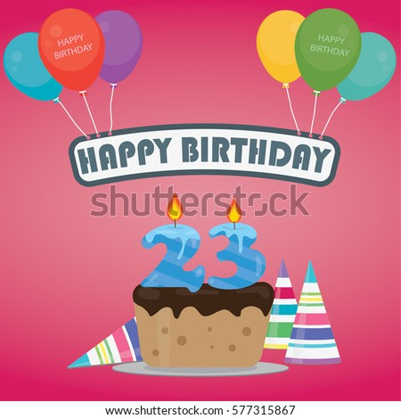 Birthday cake candle number 23 flat stock vector 577315867 birthday cake with a candle number 23 in flat style for birthday party invitation and cards thecheapjerseys Images