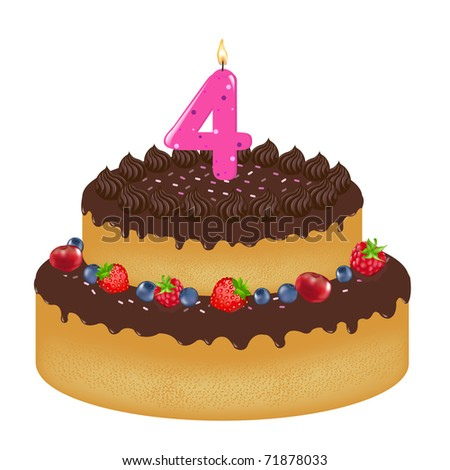 Birthday Cake With Candle And Berry, Isolated On White Background, Vector Illustration
