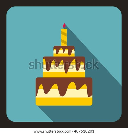 Birthday cake with candle icon in flat style on a baby blue background vector illustration